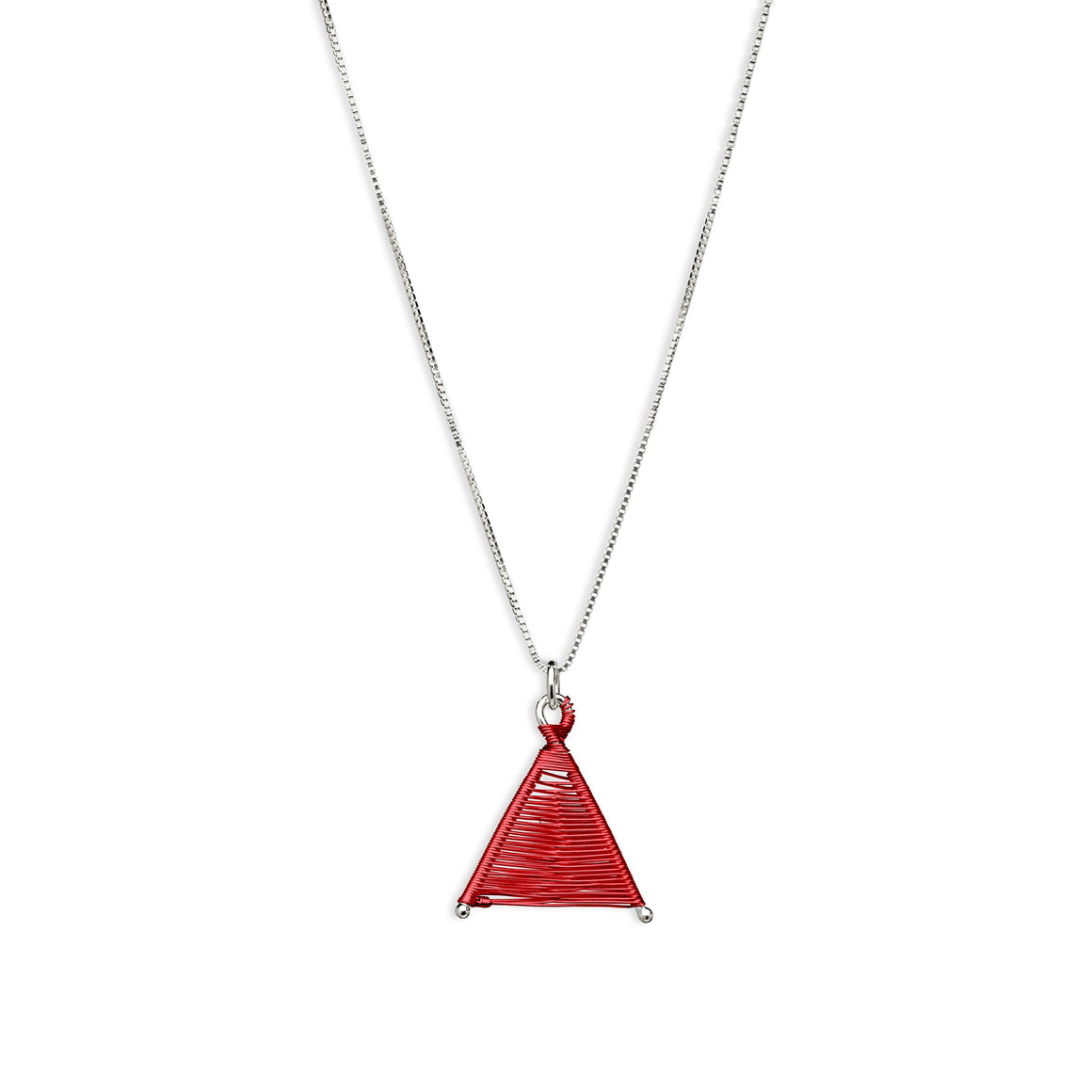 Tiny Woven Wishbone Red Copper & Silver Necklace