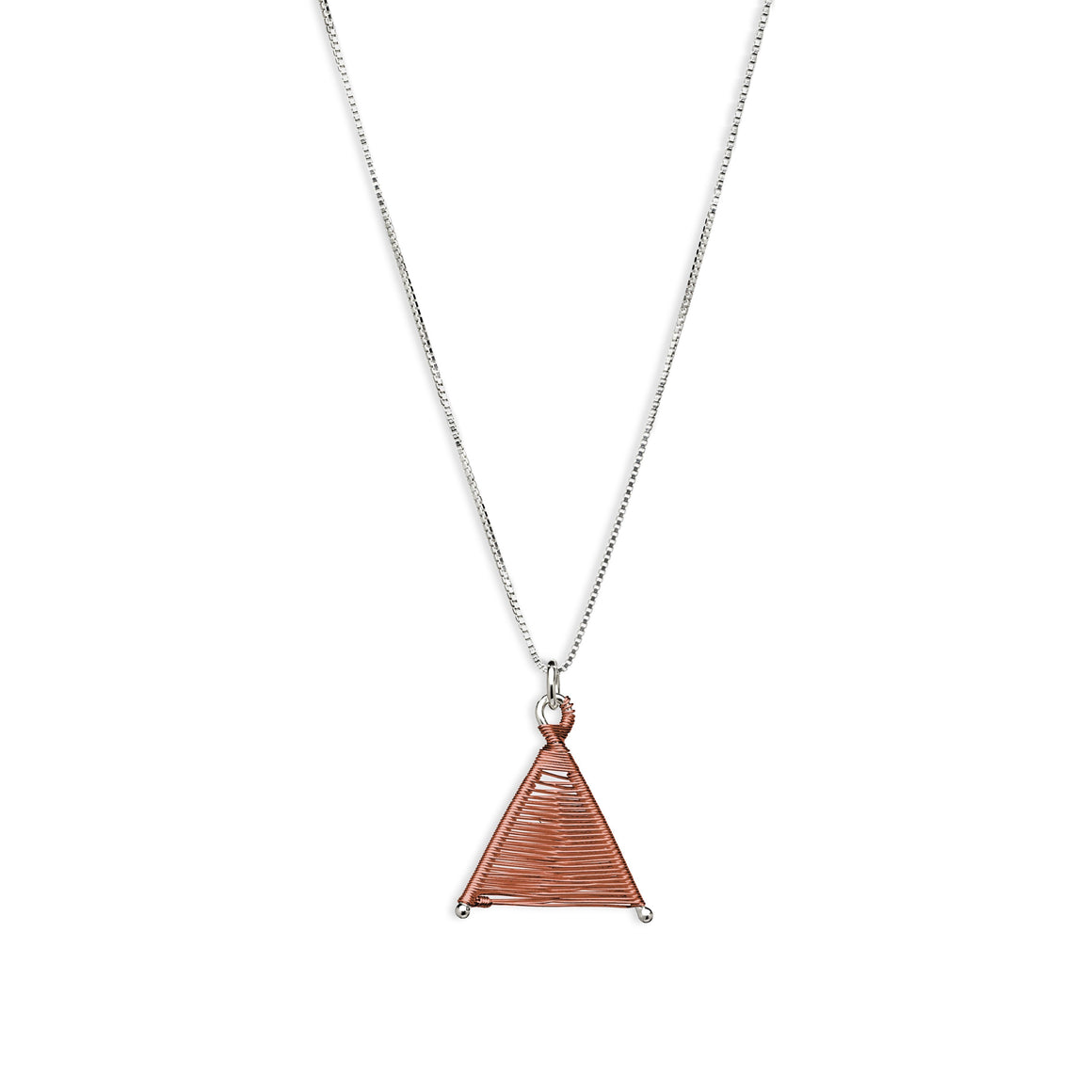 Tiny Woven Wishbone Antique Copper & Silver Necklace
