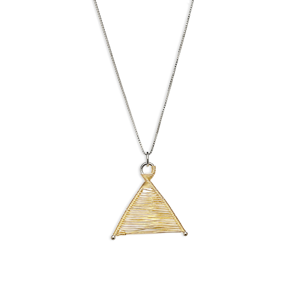Wishbone Woven 14k Gold Fill Pendant and Silver Necklace by Original Sin Jewelry in Tucson Arizona Mixed Metal