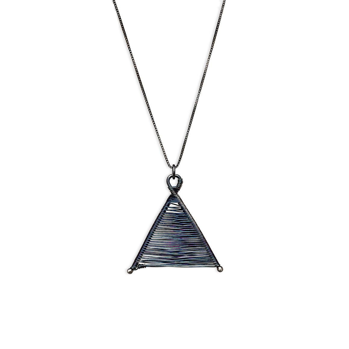 Wishbone Woven Oxidized Silver Pendant and Silver Necklace by Original Sin Jewelry in Tucson Arizona