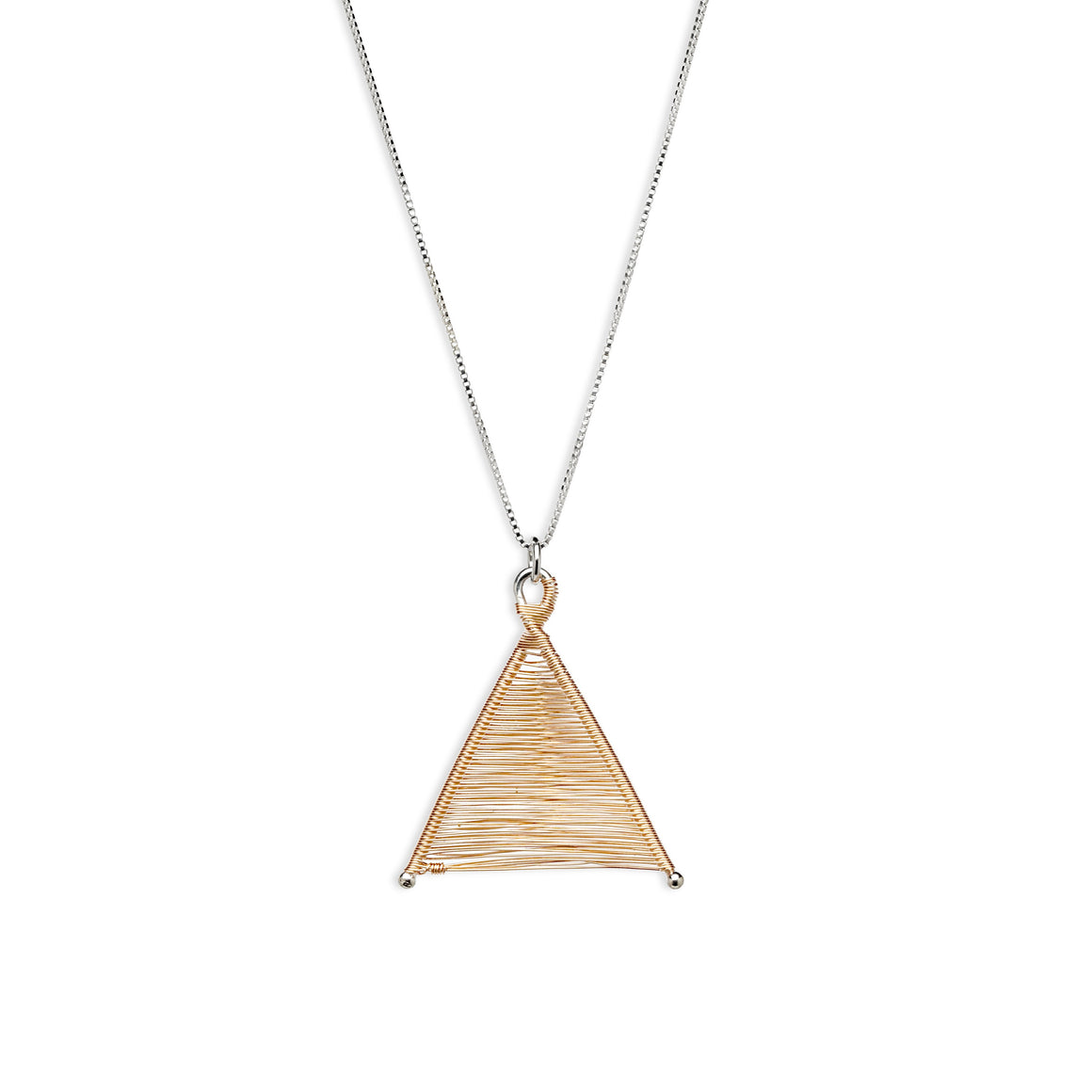 Wishbone Woven 14k Rose Gold Fill Pendant and Silver Necklace by Original Sin Jewelry in Tucson Arizona Mixed Metals