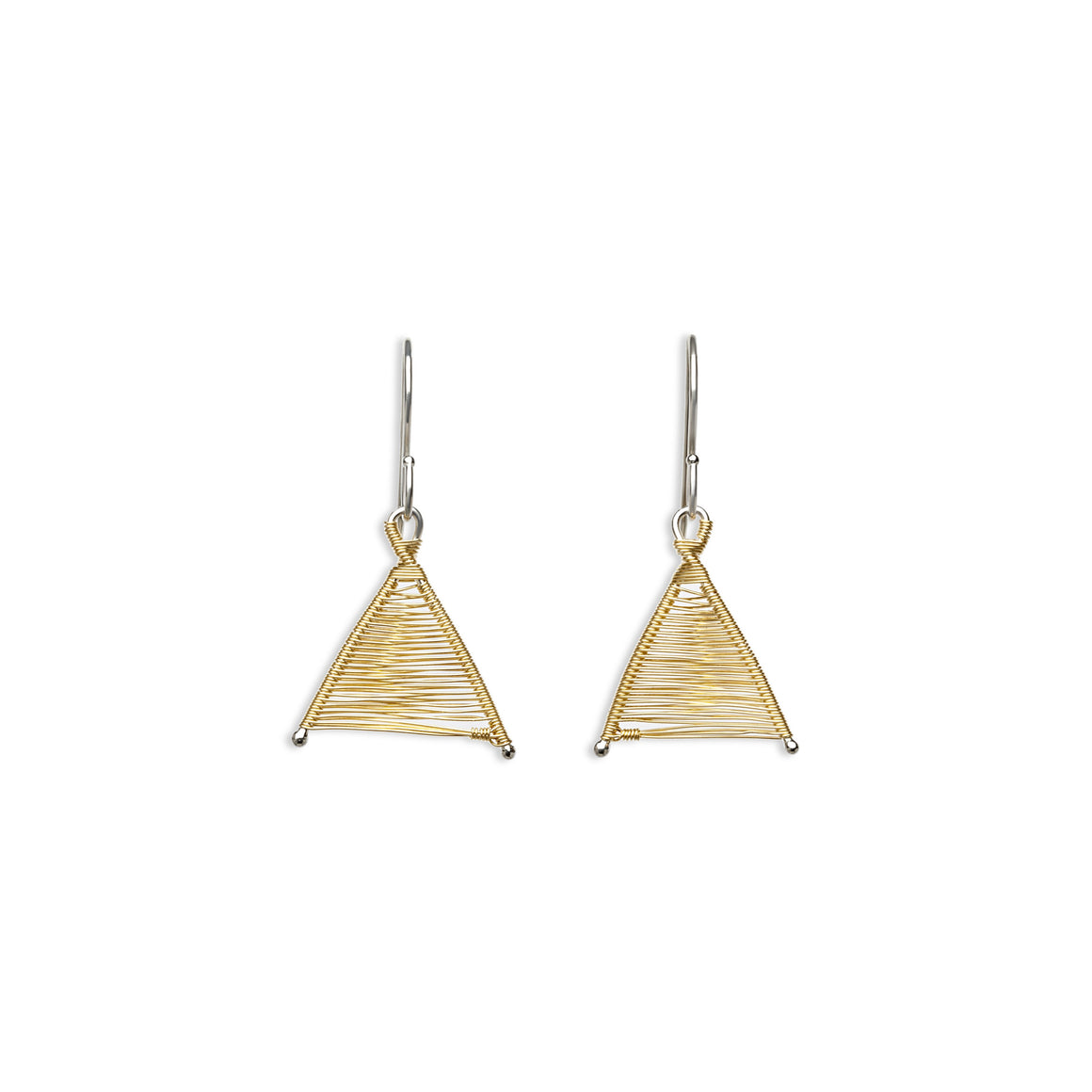 Tiny Woven Wishbone Silver & Gold Mixed Metal Earrings