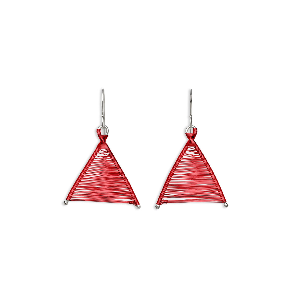 Original Sin Jewelry's Handmade Woven Wishbone Red Copper and Silver Dangle Triangle Mixed Metal Earrings