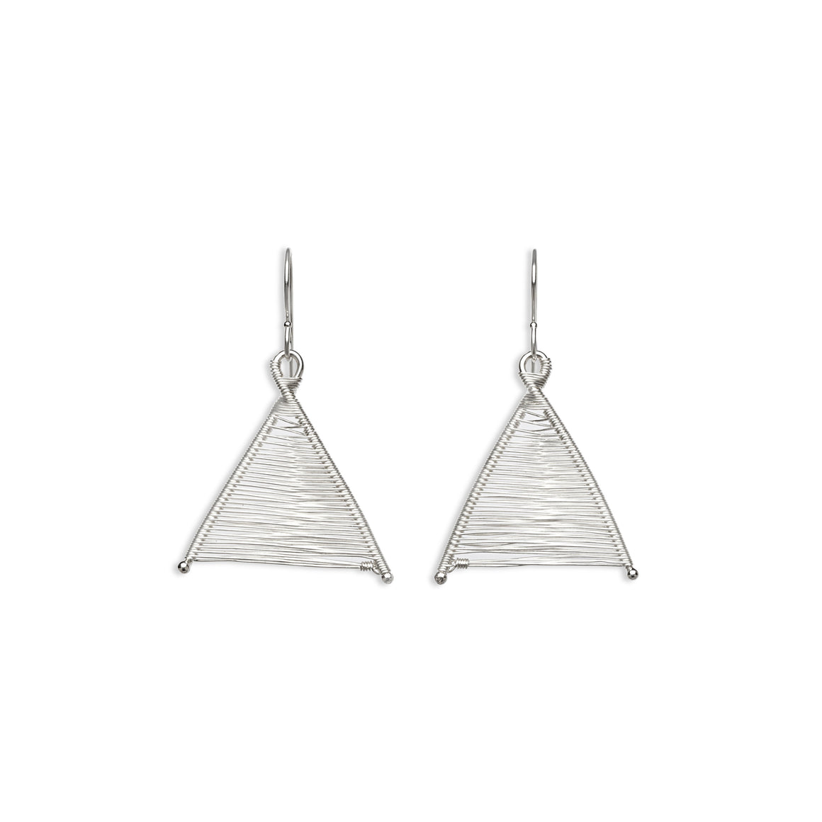 Original Sin Jewelry's Handmade Woven Wishbone Silver Dangle Triangle Earrings