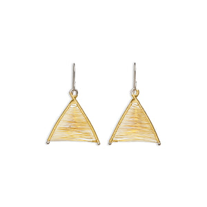 Original Sin Jewelry's Handmade Woven Wishbone Silver and Gold Mixed Metal Dangle Triangle Earrings