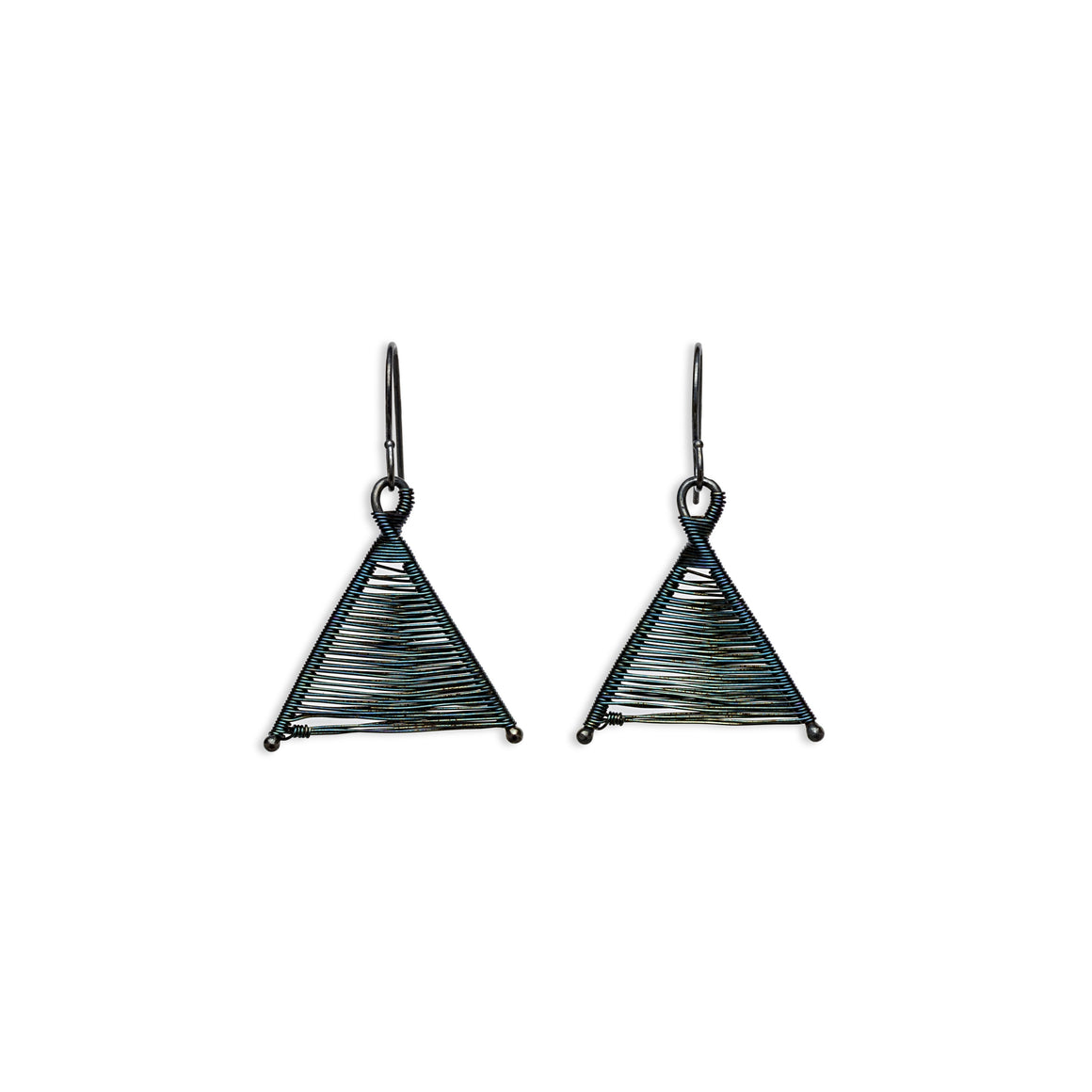 Original Sin Jewelry's Handmade Woven Wishbone Oxidized Silver Dangle Triangle Earrings