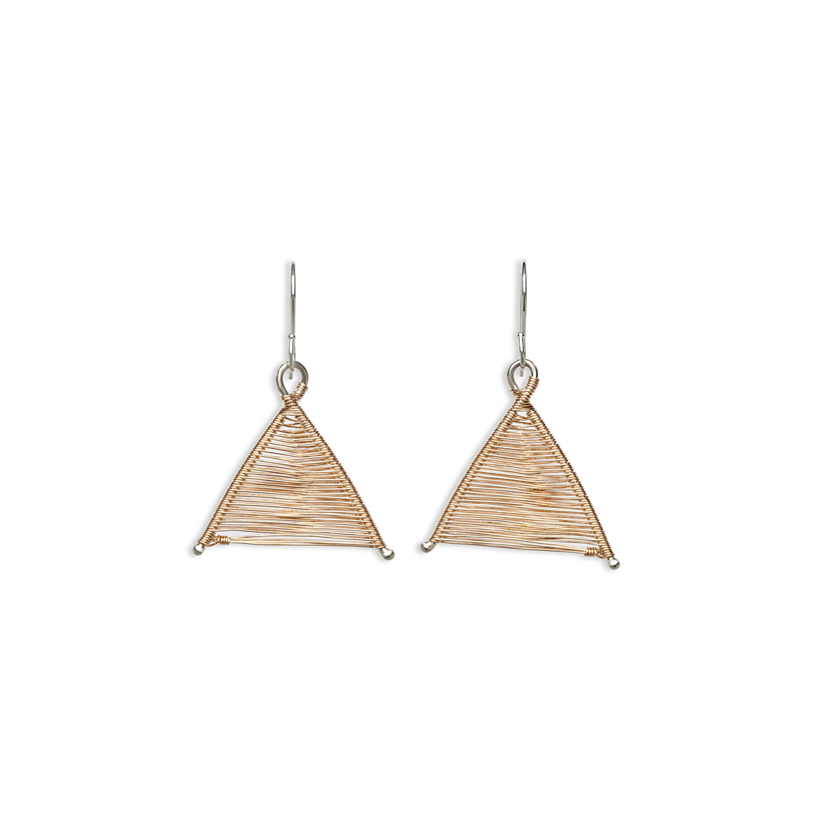Original Sin Jewelry's Handmade Woven Wishbone Silver and Rose Gold Mixed Metal Dangle Triangle Earrings