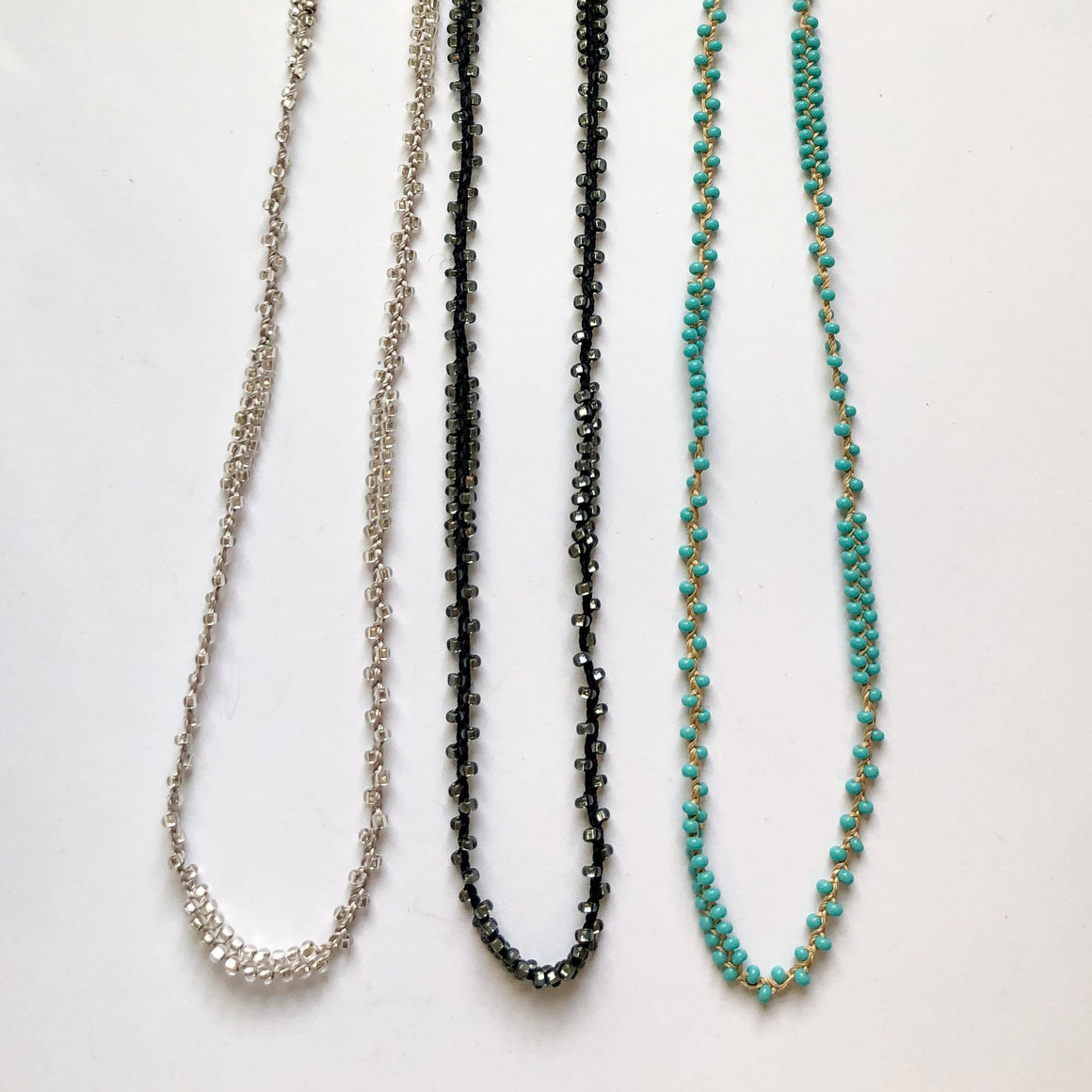 "Braided 32"" Patterned Beaded Necklaces Silver, Turquoise, & Black"