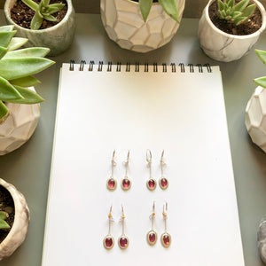 Rhodolite Garnet January Birthstone Pendulum Nest Earring by Original Sin Jewelry in Tucson AZ