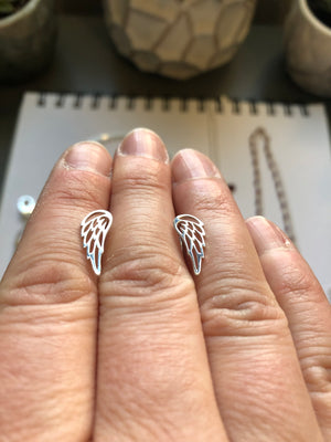 Sterling Silver Angel Wing Studs by Original Sin Jewelry