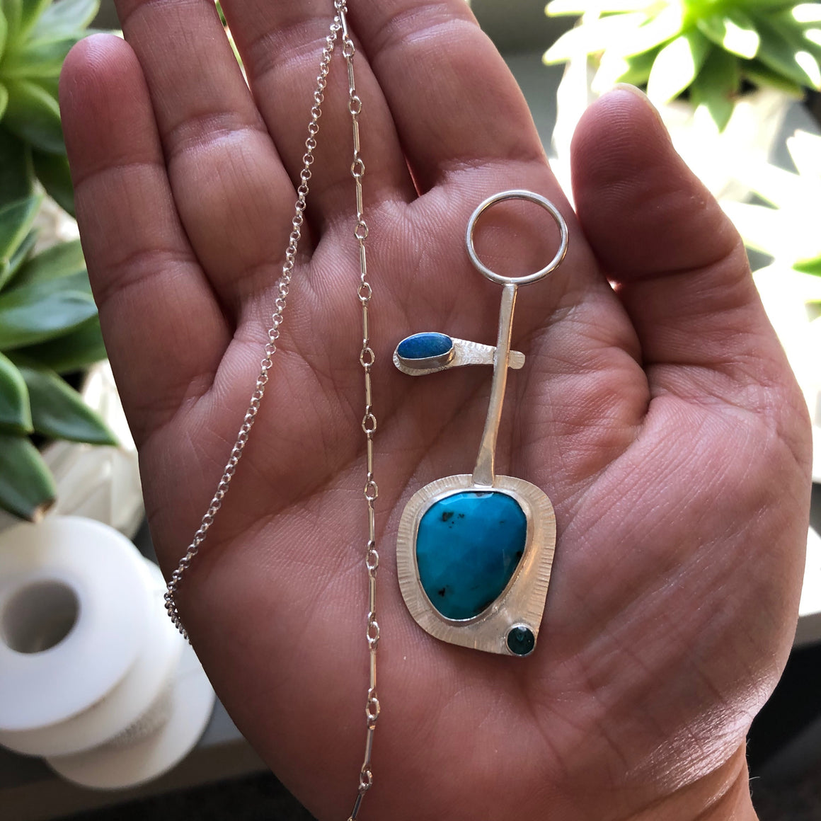 faceted turquoise with tourmaline and opal fancy pendulum silver pendant on deluxe bar link silver chain