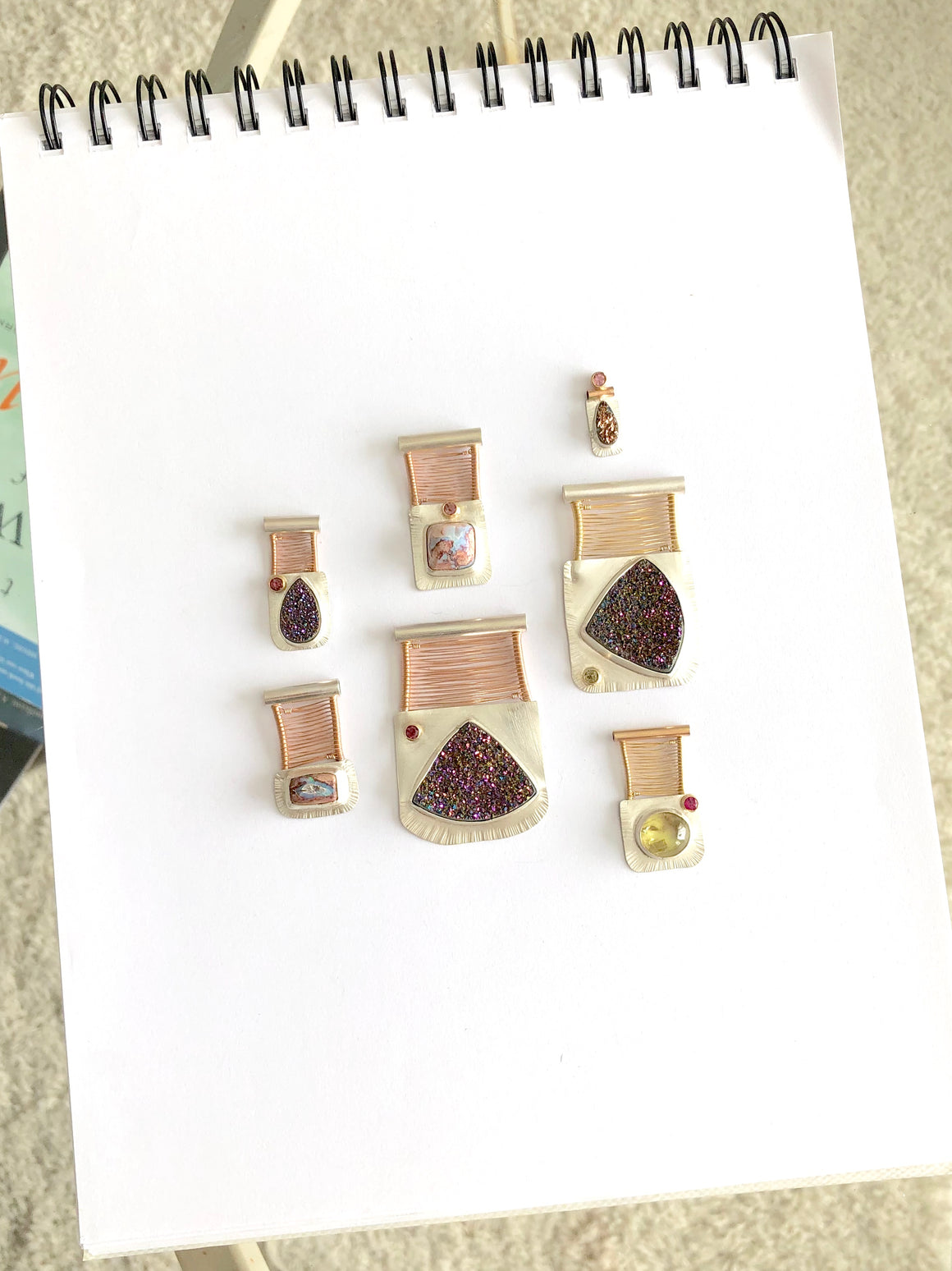 Power Pink Druzy Pendant Grouping