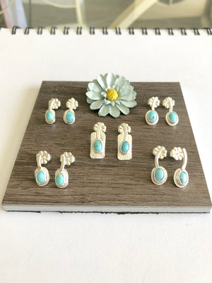 Head Angle Sprouts Silver Stud Earrings Bisbee Turquoise