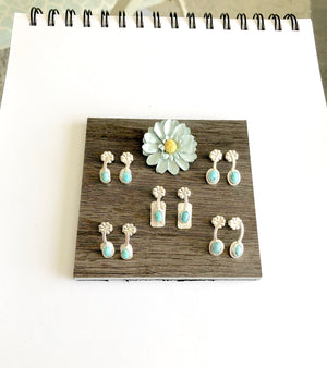 Top View 5 pairs small silver and turquoise stud earrings