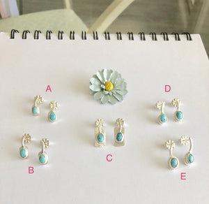 Lettered View Silver and Bisbee Turquoise Stud Earring Pairs