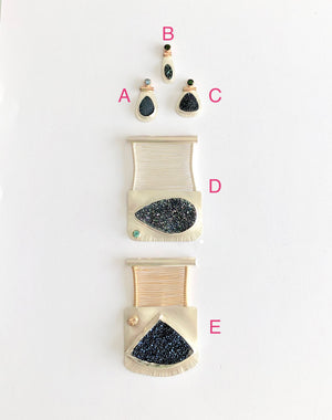 Lettered View of group of handcrafted one of a kind blue or black druzy woven wire bridge pendants