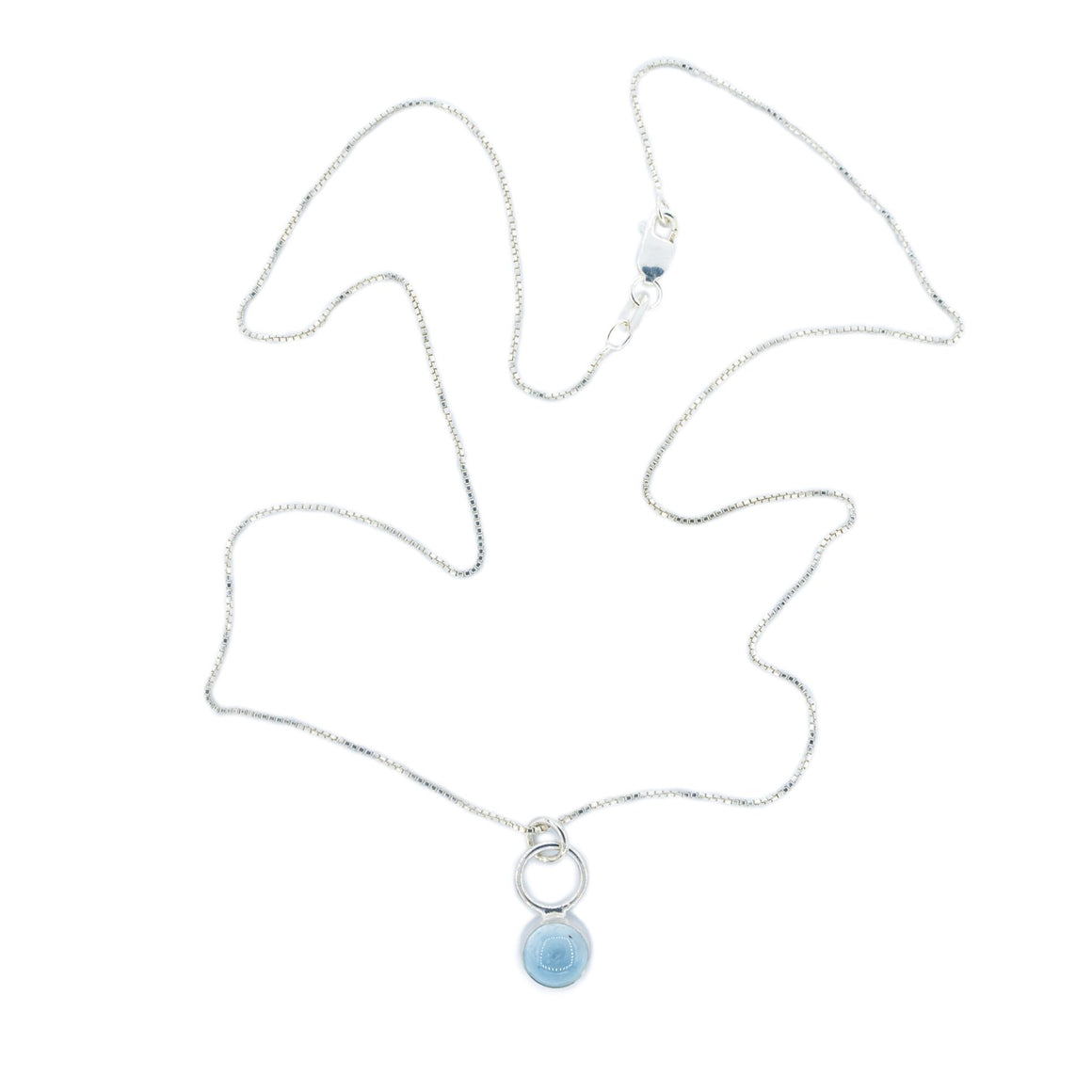Aquamarine Drop Necklace by Original Sin Jewelry in Silver