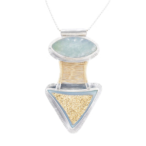 Original Sin Jewelry's Bridge Pendant in Mixed Metals with Chalcedony Druzy and Prehnite