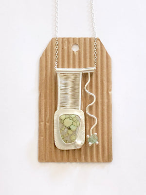 Variscite and Sapphire Pendant on Chain