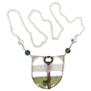 Long Green Woven Key Necklace by OSJ