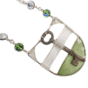Original Sin Jewelry's Skeleton Key Pendant with Green Resin and Vintage Swarovski Crystals