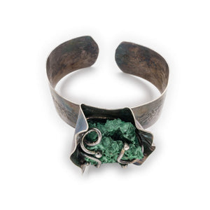OSJ's Malachite and Textured Silver Oxidized Bracelet