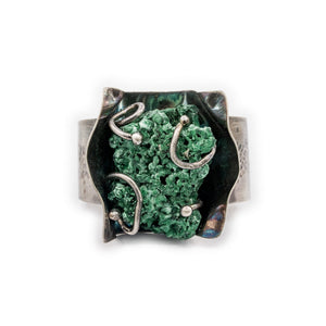 Rough Malachite Specimen set in Silver Cuff by OSJ