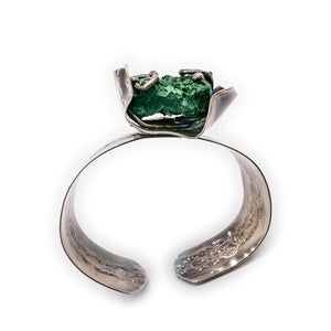 Malachite and Oxidized Silver Cuff by Original Sin Jewelry