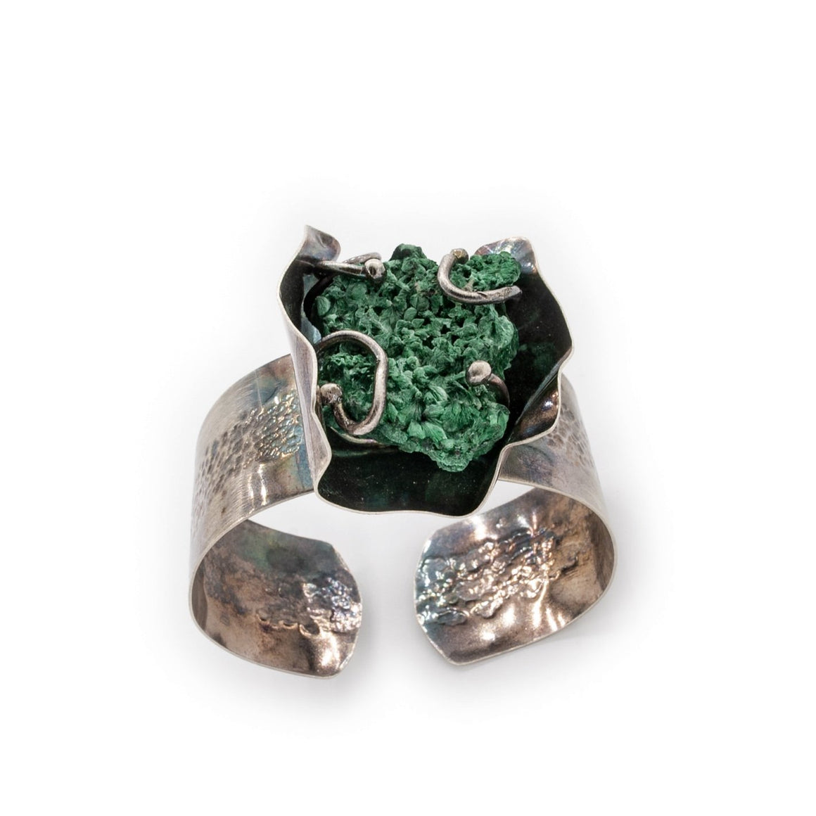 Malachite and Silver Cuff by Original Sin Jewelry