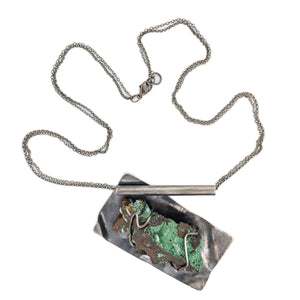 Green Mineral and Oxidized Silver Pendant by OSJ