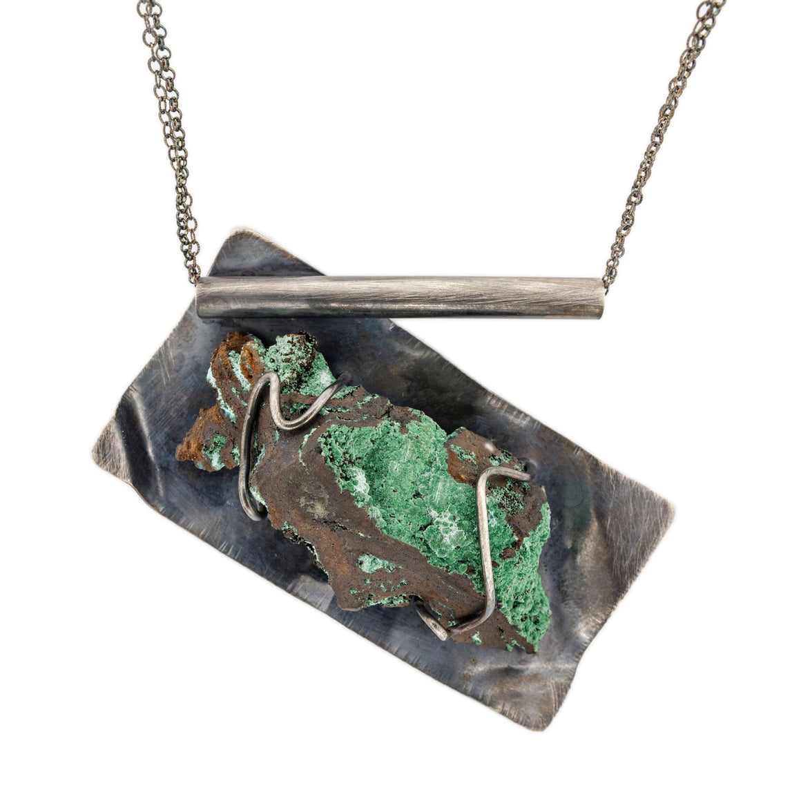Konacocite Mineral Specimen and Oxidized Silver Necklace by Original Sin Jewelry