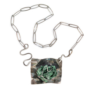 Oxidized Silver and Rough Malachite Necklace by Original Sin Jewelry