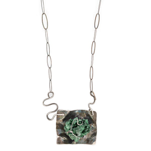 Original Sin Jewelry Rough Malachite Necklace in Oxidized Silver
