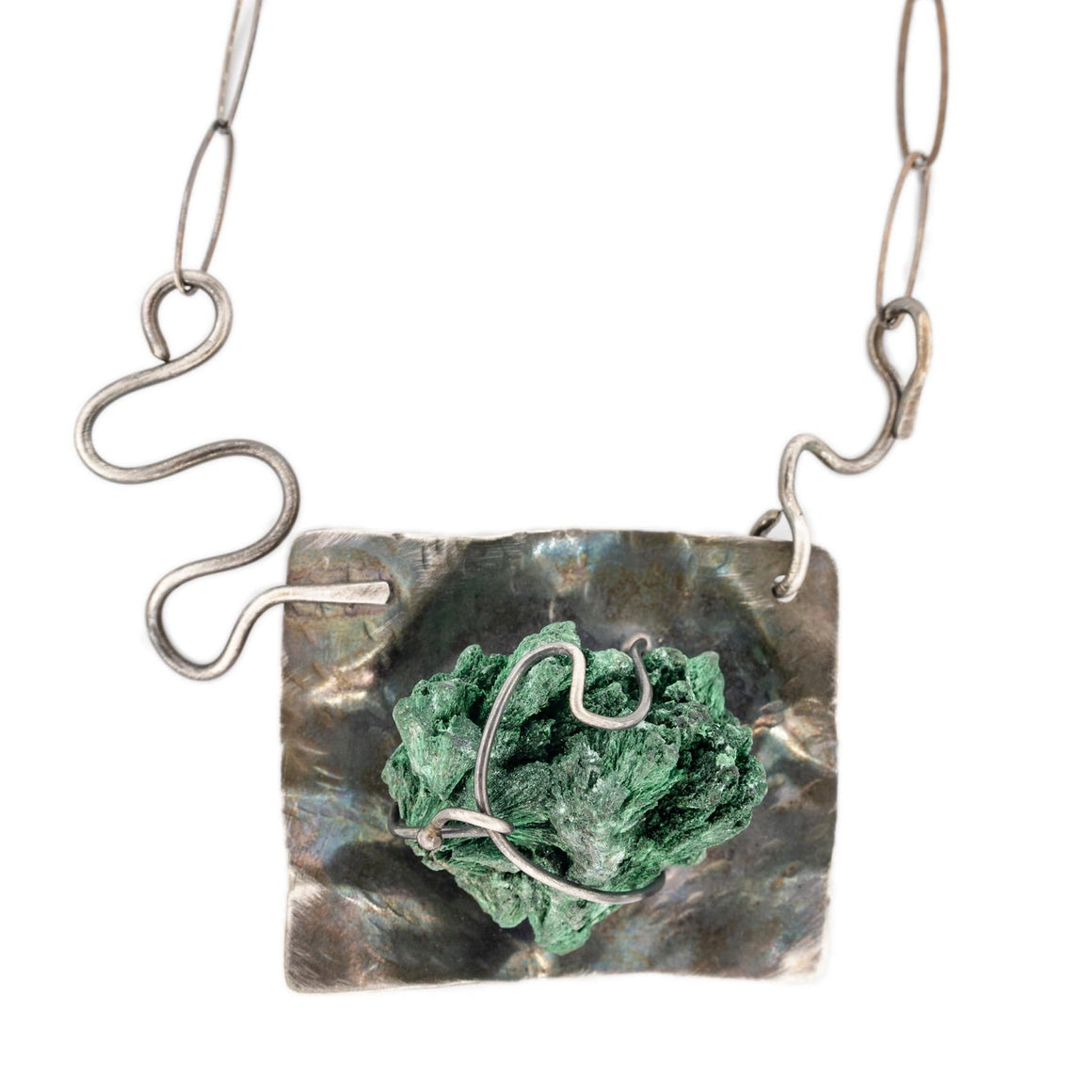 Malachite Specimen Necklace in Oxidized Silver by Original Sin Jewelry