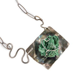 Close Up of Malachite Specimen and Oxidized Silver Necklace by OSJ
