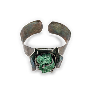 Hammered Cuff with Malachite Specimen by OSJ