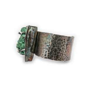 Classic Hammered Texture with Malachite Specimen by Original Sin Jewelry