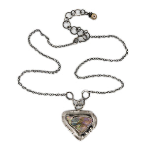 Original Sin Jewelry's Focus Style Necklace in Oxidized Silver with Paua Shell