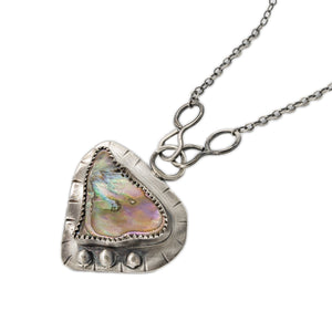 OSJ's Oxidized Silver Necklace with Paua Shell