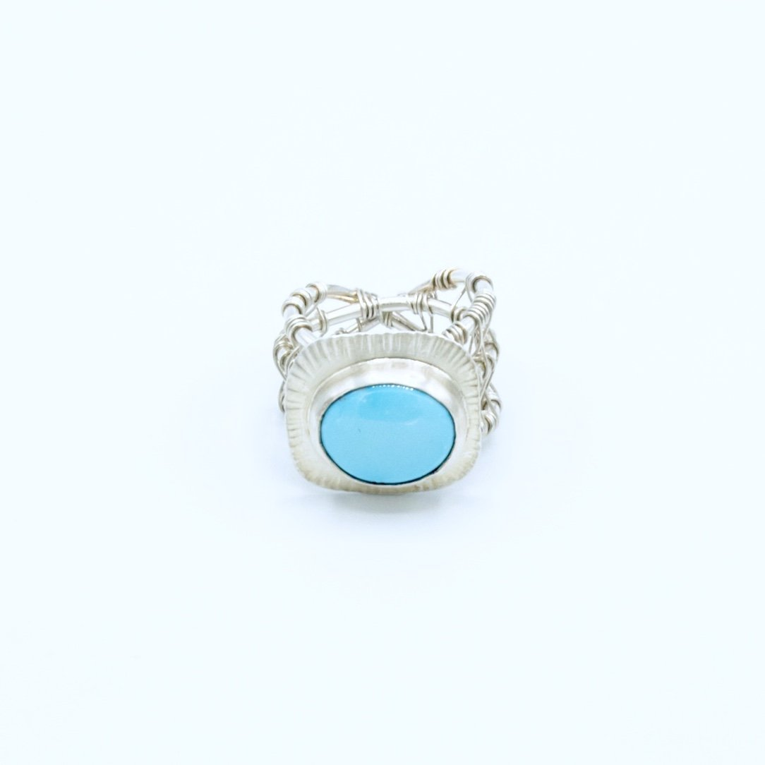 Brooke - Sleeping Beauty Turquoise Woven Nest Ring - Original Sin Jewelry