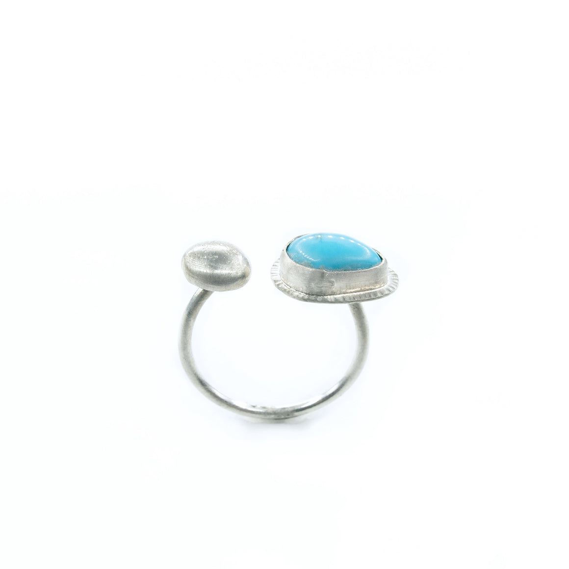 Original Sin Jewelry's Contemporary Open Ring with Turquoise and Brushed Silver
