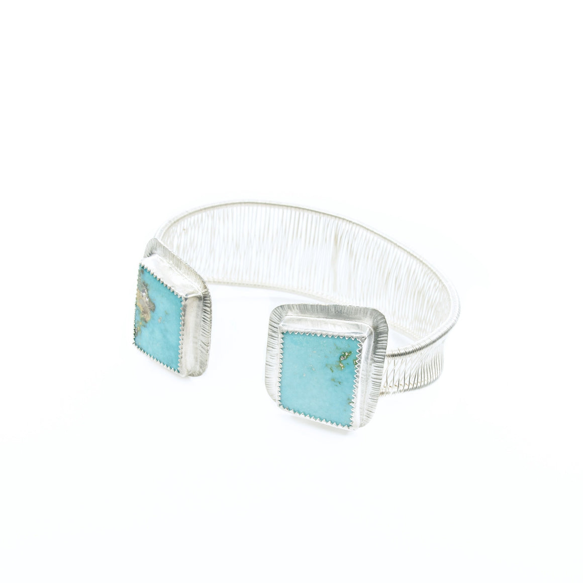Basanah - Turquoise Mountain Double Stone Woven Silver Cuff - Original Sin Jewelry