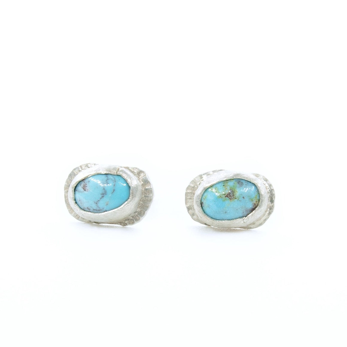 Fine Silver Bisbee Turquoise Stud Earrings
