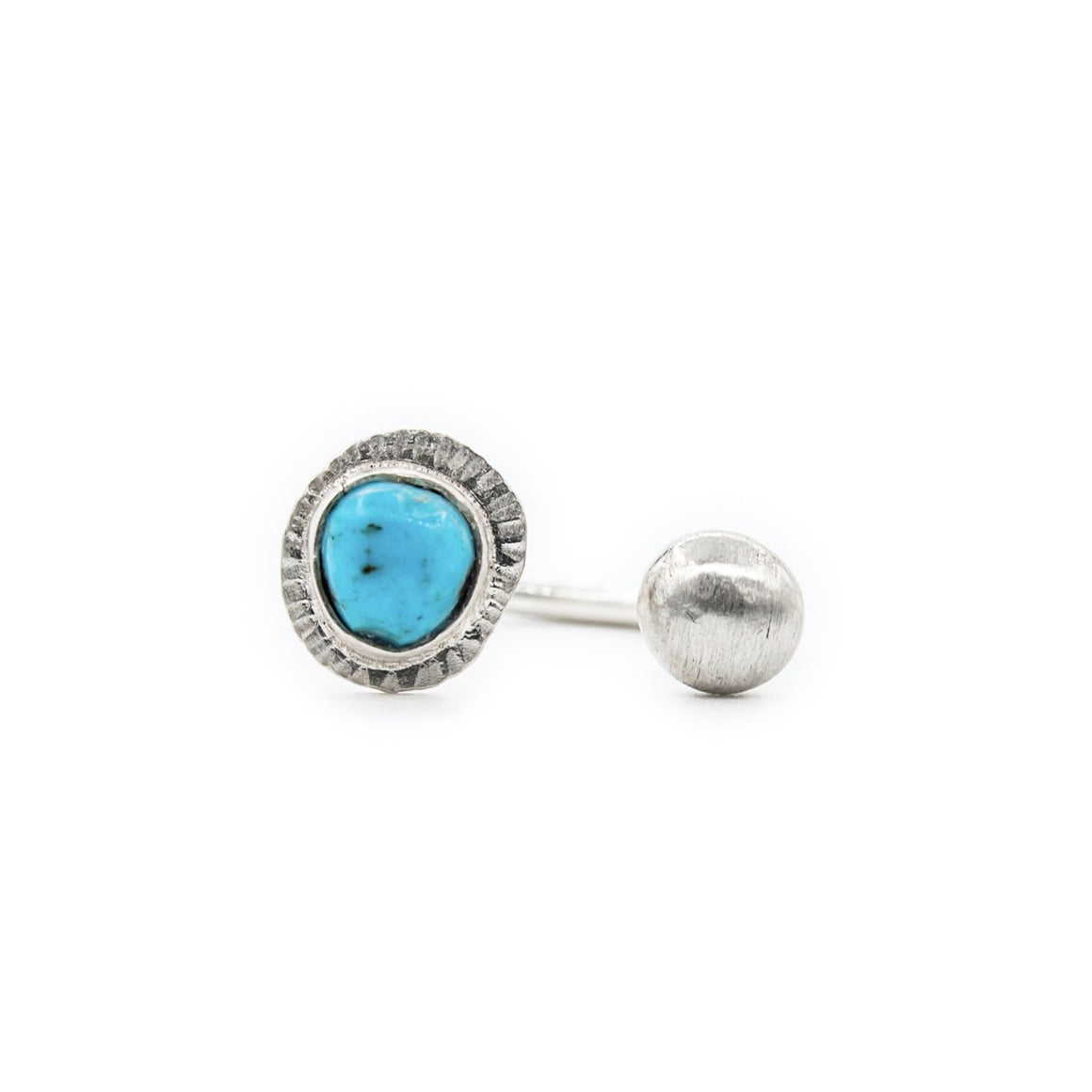 Contemporary Open Ring with Turquoise and Brushed Silver Ball by OSJ