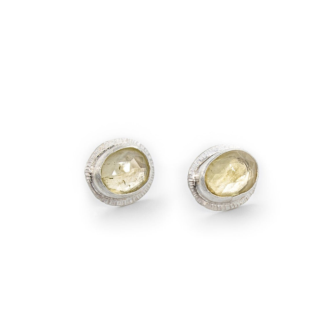Golden Beryl Fine Silver Studs by Original Sin Jewelry