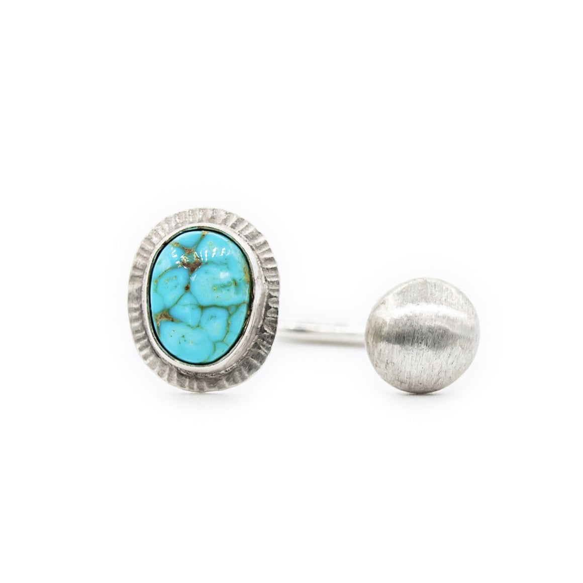 Arizona Turquoise Open Ring with Brushed Silver by OSJ
