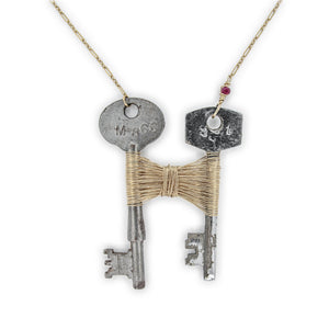 Skeleton Key and Gold Woven Necklace by Original Sin Jewelry