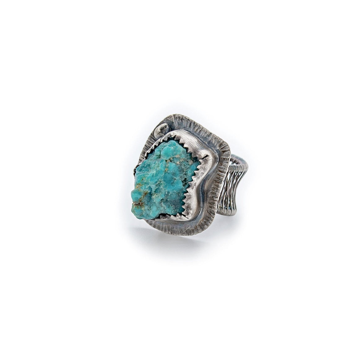 Turquoise Nugget Ring with Woven Band by Original Sin Jewelry