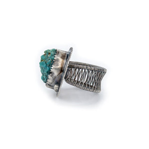 OSJ's Oxidized Turquoise Nugget Woven Band Ring Size 5