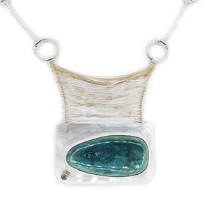 Pendant Close up 14k, Tourmaline, Chrysocolla Bridge by OSJ